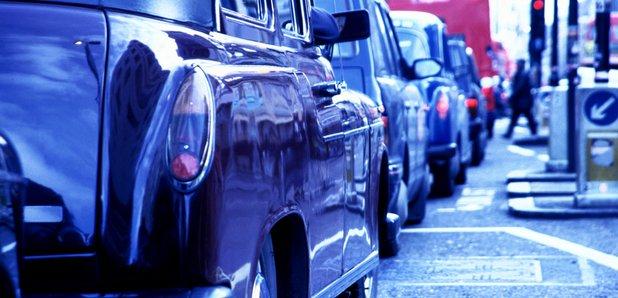 London Cab in traffic jam