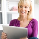 Mature Lady On Tablet